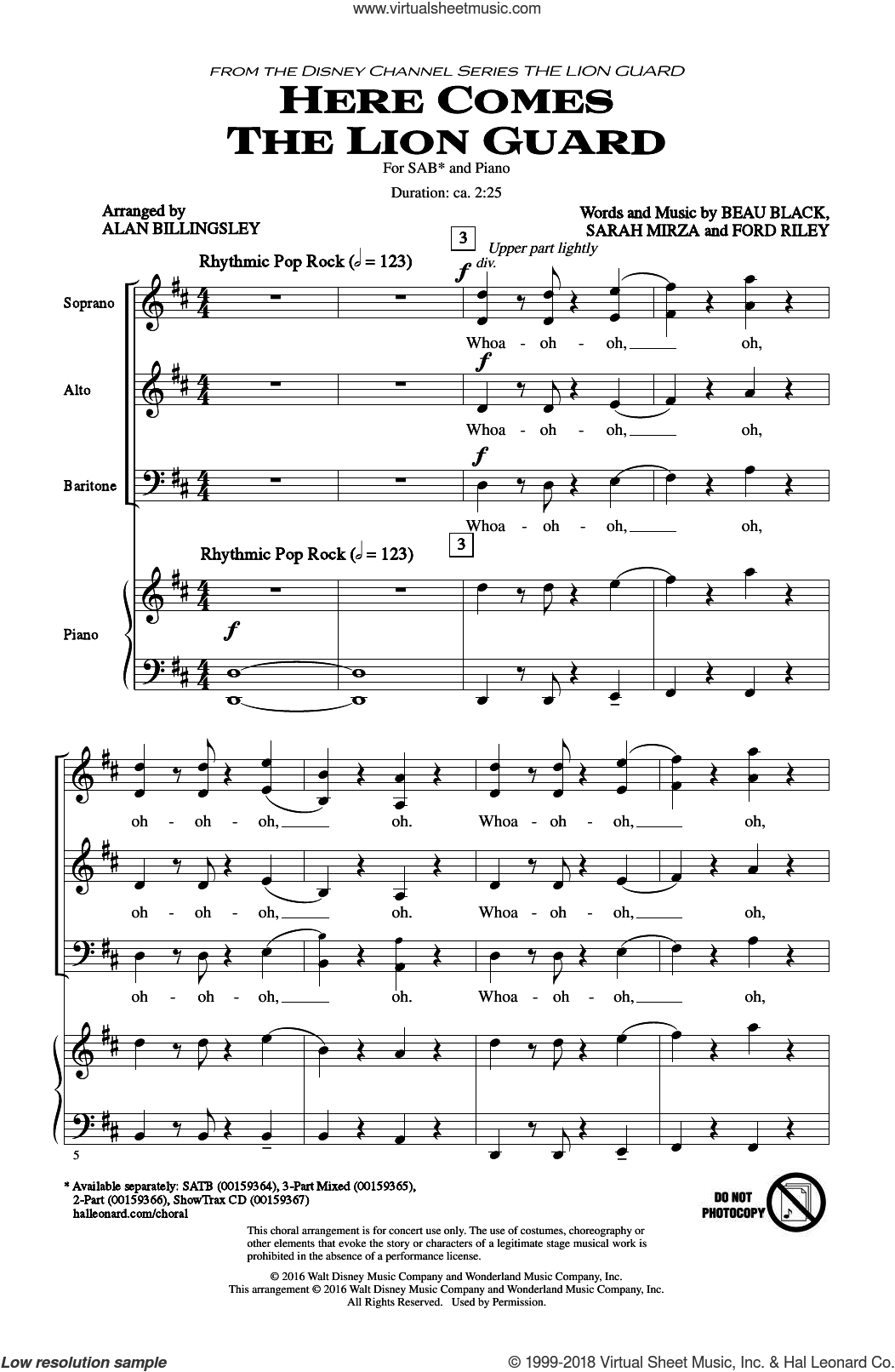 Here Comes The Lion Guard sheet music for choir (SAB) by Beau Black, Alan Billingsley, Ford Riley and Sarah Mirza, intermediate choir (SAB). Score Image Preview.