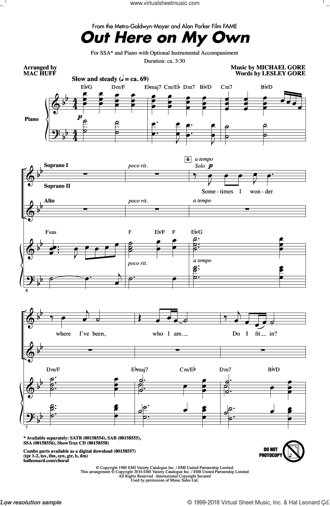 Out Here On My Own sheet music for choir and piano (SSA) by Michael Gore, Mac Huff and Lesley Gore. Score Image Preview.