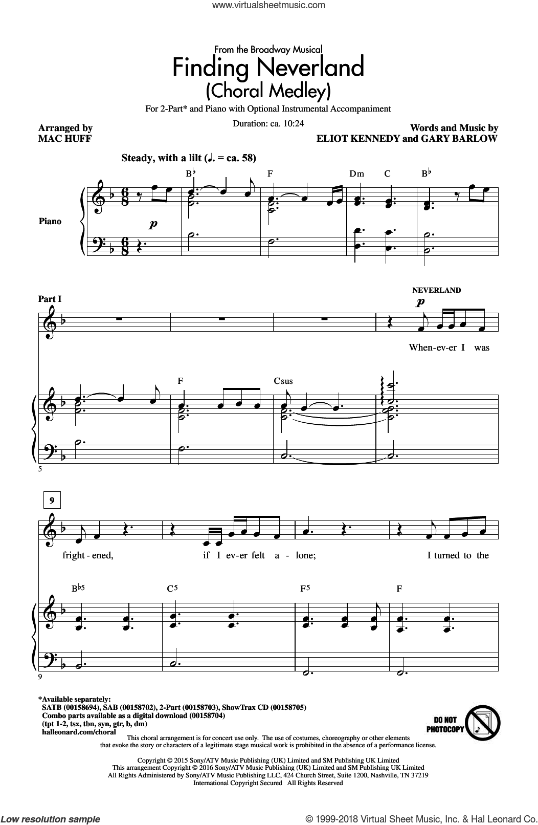 Finding Neverland (Choral Medley) sheet music for choir (2-Part) by Gary Barlow, Mac Huff and Eliot Kennedy, intermediate duet