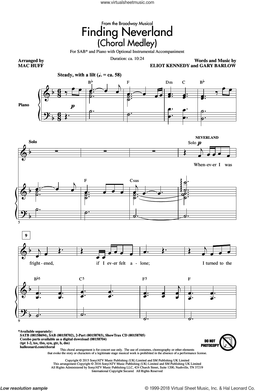 Finding Neverland (Choral Medley) sheet music for choir and piano (SAB) by Gary Barlow, Mac Huff and Eliot Kennedy. Score Image Preview.