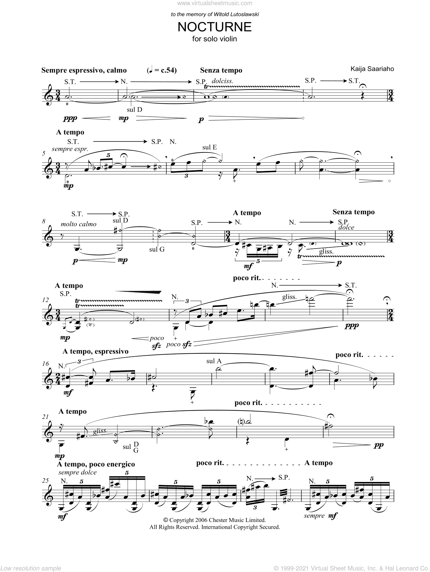 Nocturne sheet music for violin solo by Kaija Saariaho, classical score, intermediate skill level