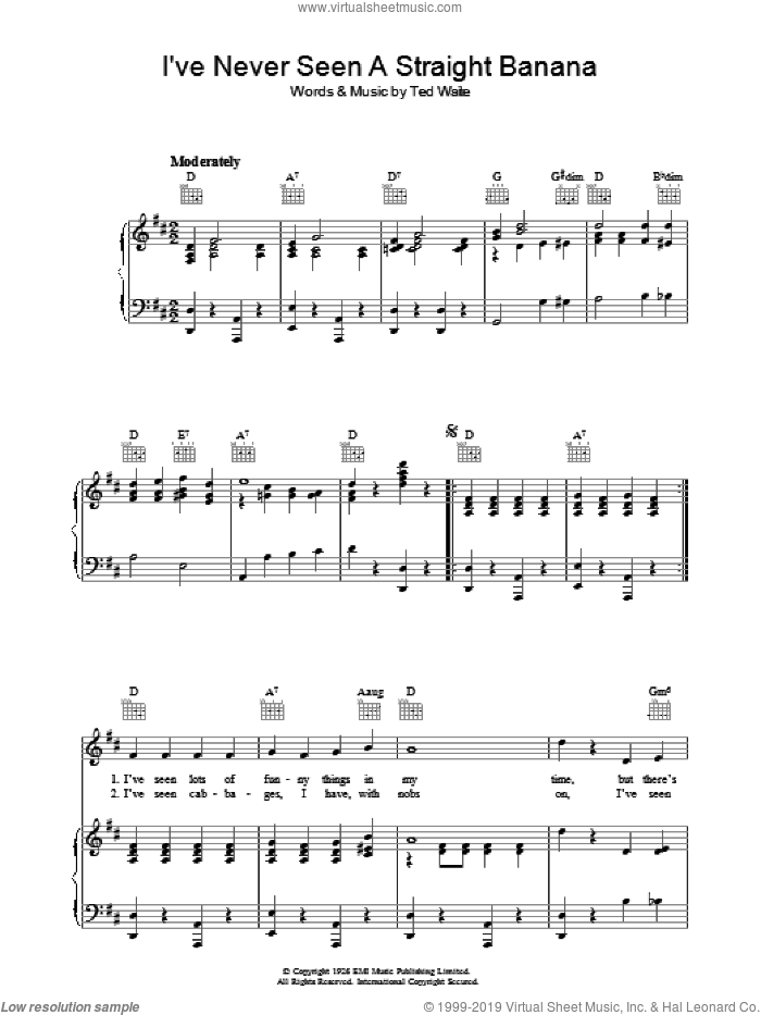 I've Never Seen A Straight Banana sheet music for voice, piano or guitar by Ted Waite. Score Image Preview.