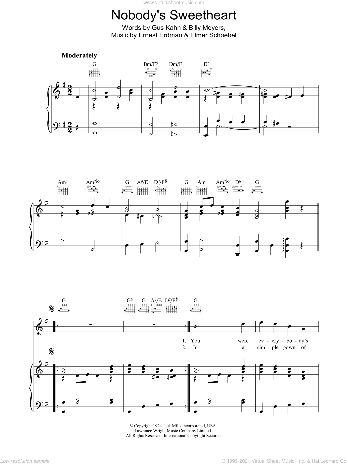 Nobody's Sweetheart sheet music for voice, piano or guitar by Gus Kahn, Billy Meyers, Elmer Schoebel and Ernie Erdman, intermediate voice, piano or guitar. Score Image Preview.