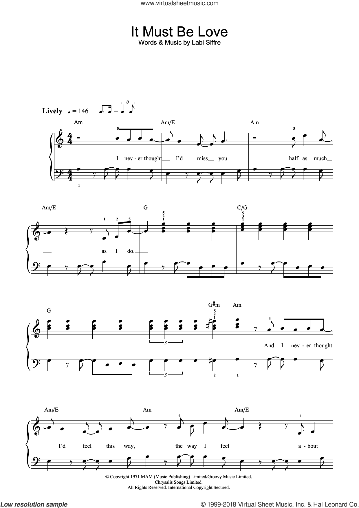 It Must Be Love sheet music for voice, piano or guitar by Labi Siffre and Madness. Score Image Preview.