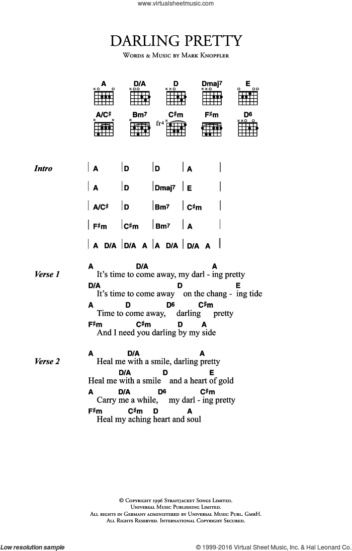 Darling Pretty sheet music for guitar (chords) by Mark Knopfler, intermediate skill level