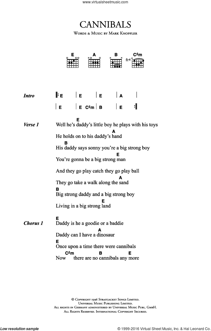 Cannibals sheet music for guitar (chords) by Mark Knopfler, intermediate guitar (chords). Score Image Preview.