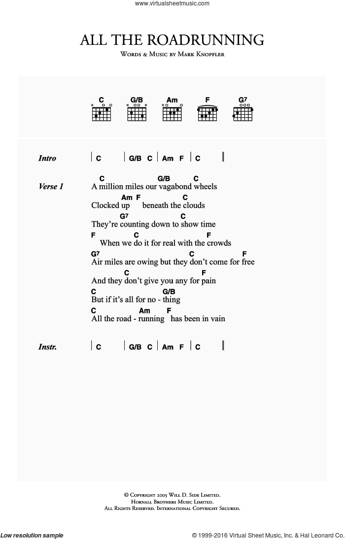 All The Roadrunning sheet music for guitar (chords) by Mark Knopfler, intermediate. Score Image Preview.