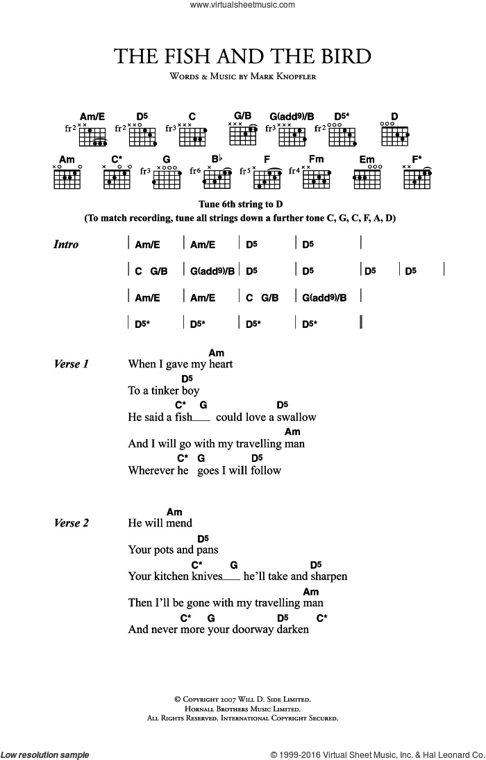 The Fish And The Bird sheet music for guitar (chords) by Mark Knopfler. Score Image Preview.