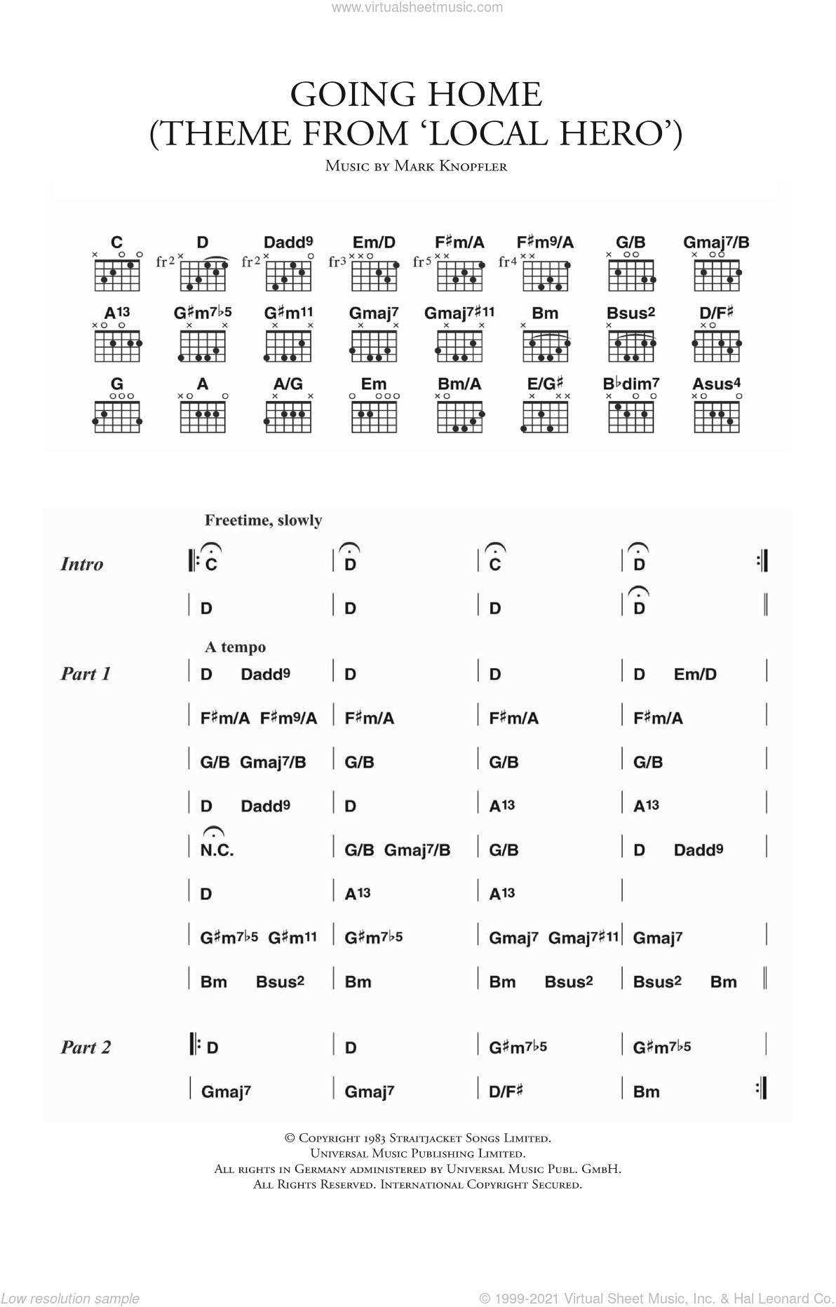 Going Home (Theme from 'Local Hero') sheet music for guitar (chords) by Mark Knopfler. Score Image Preview.