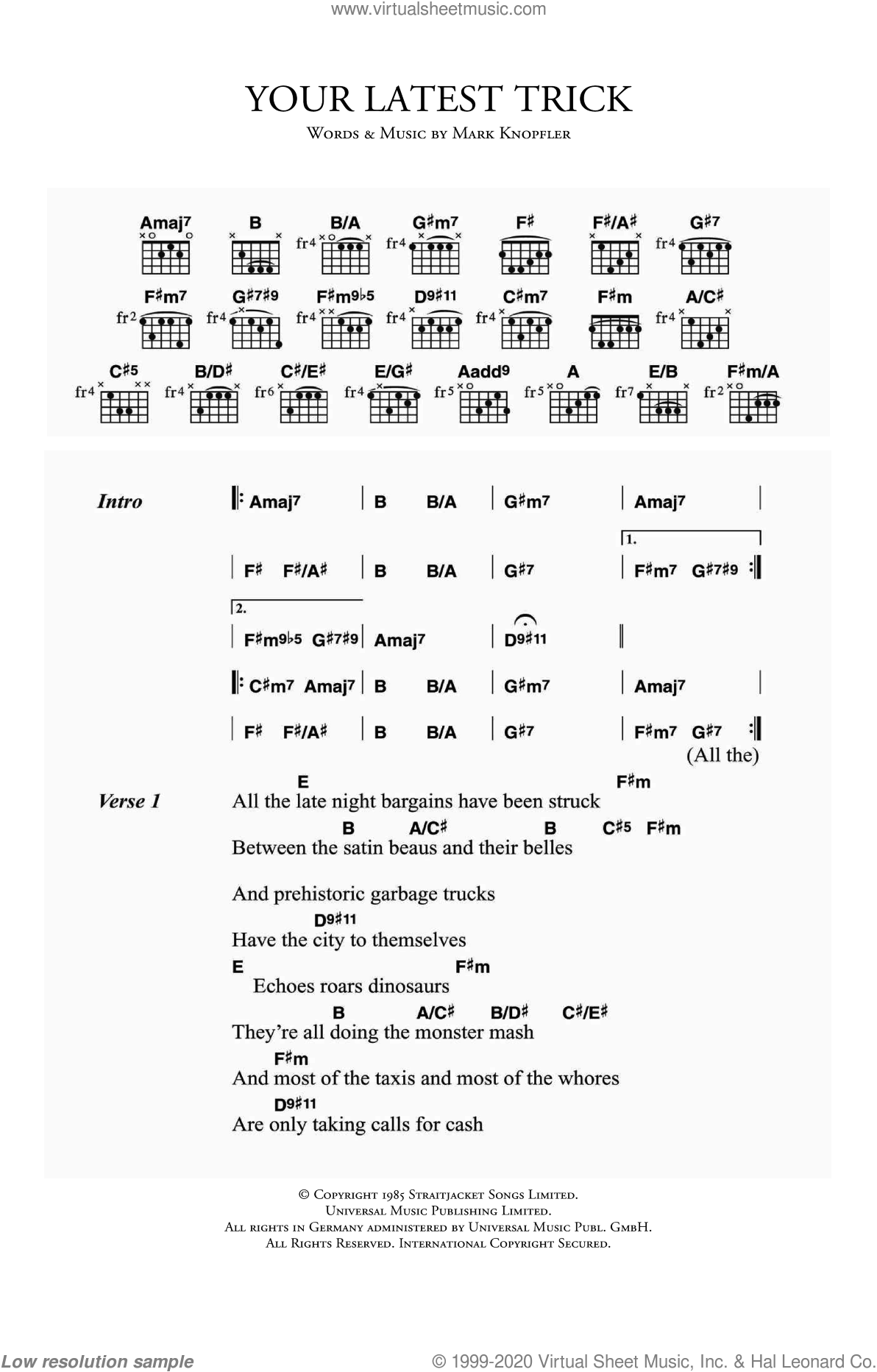 Straits - Your Latest Trick sheet music for guitar (chords) [PDF]