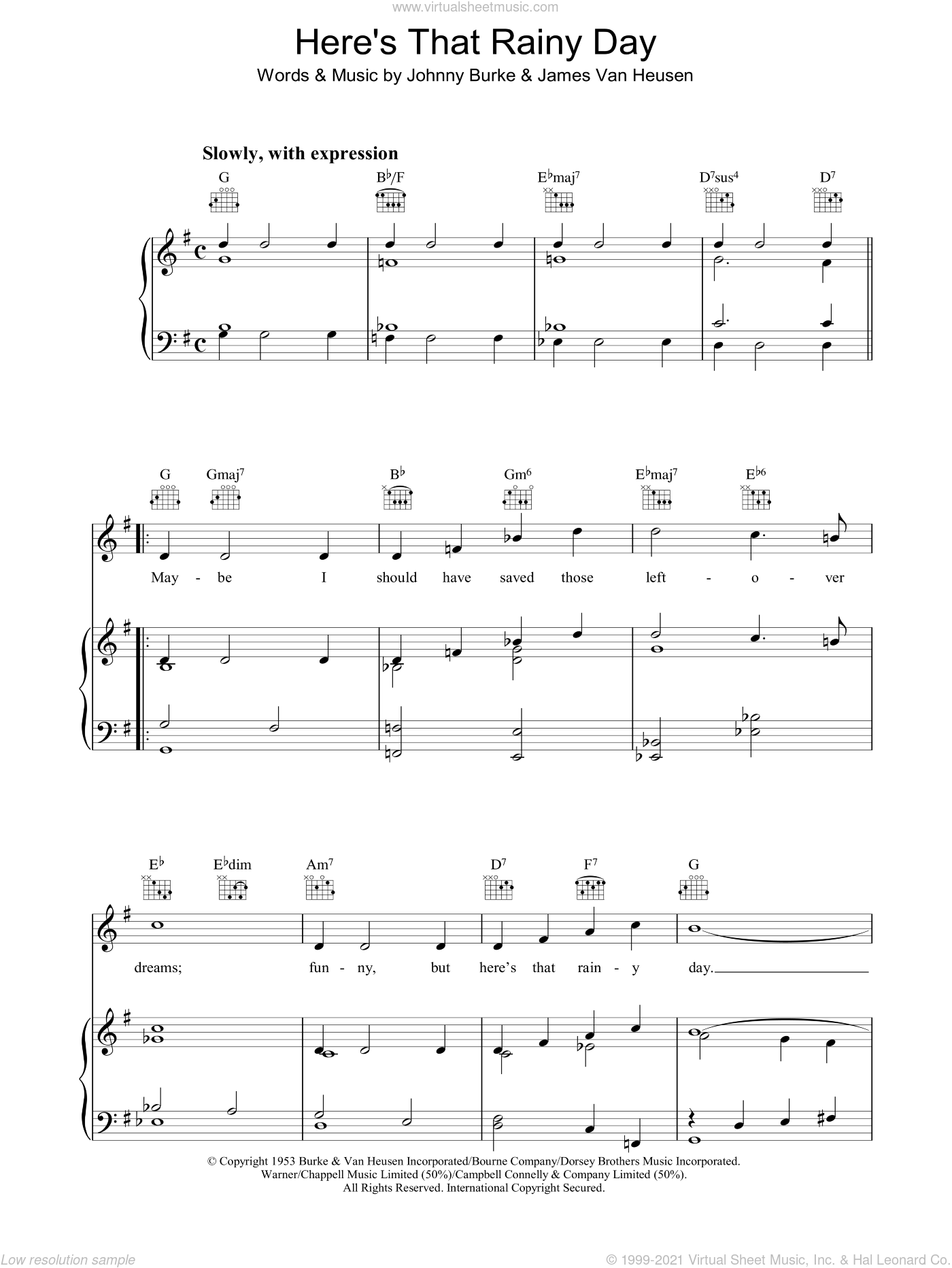Here's That Rainy Day Sheet Music For Voice, Piano