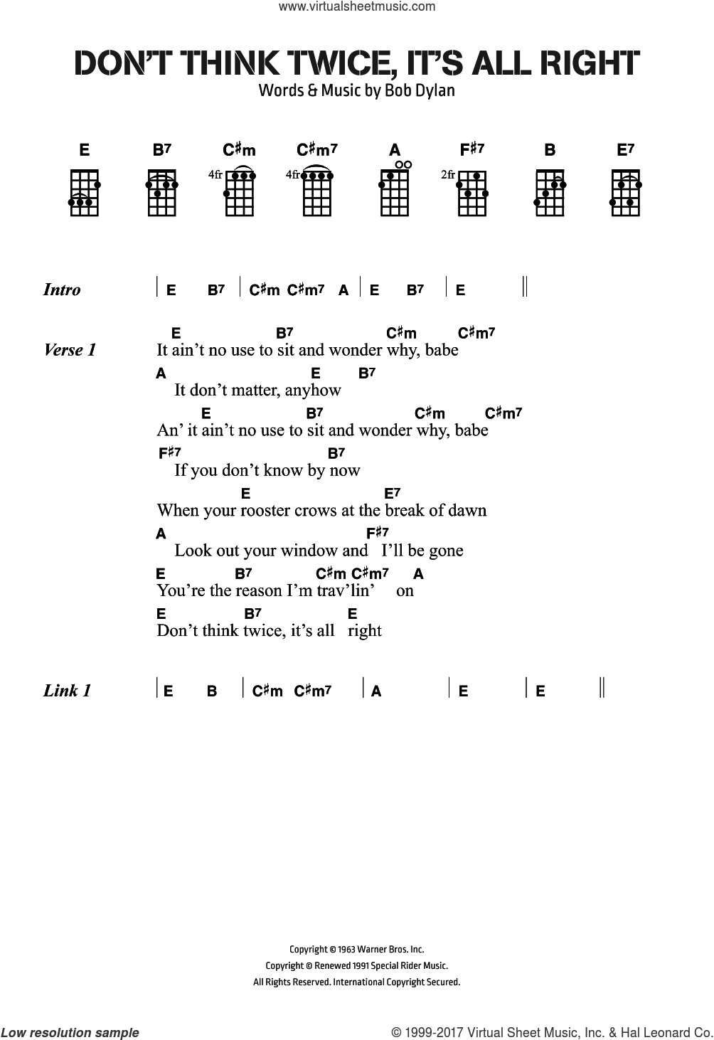 Don't Think Twice, It's All Right sheet music for voice, piano or guitar by Bob Dylan, intermediate skill level