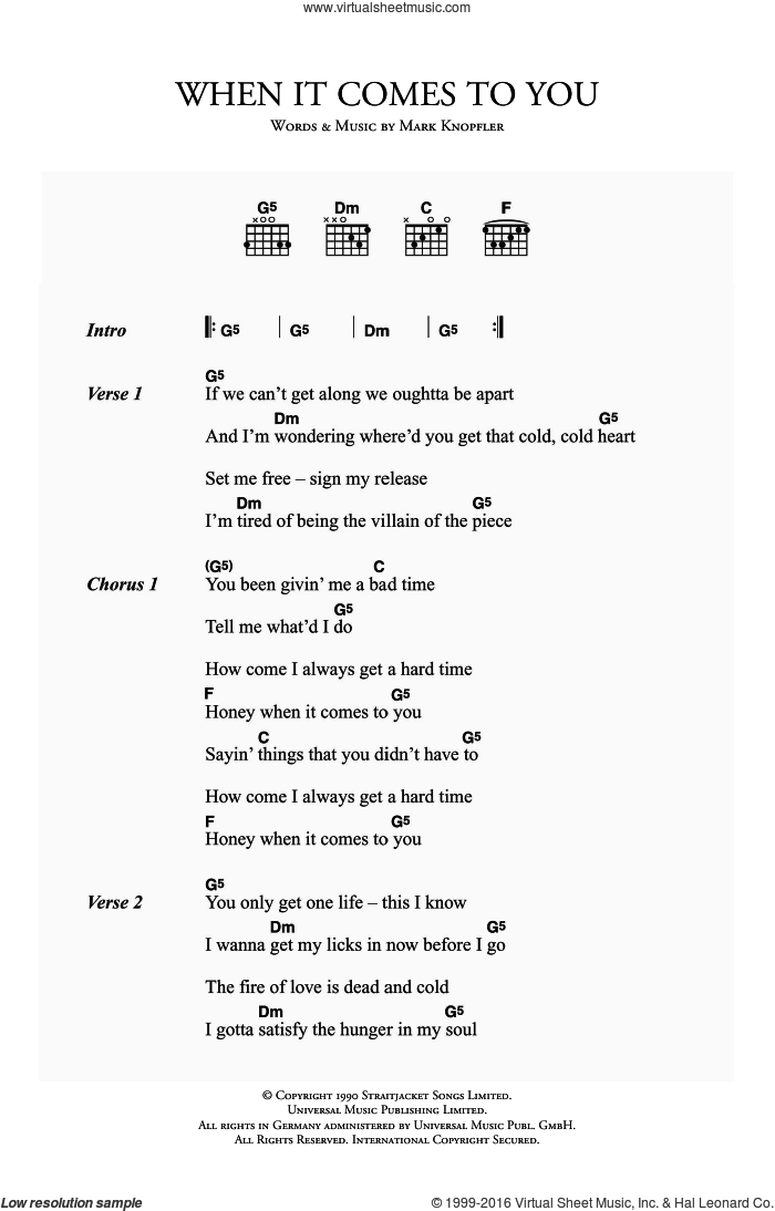 When It Comes To You sheet music for guitar (chords) by Mark Knopfler