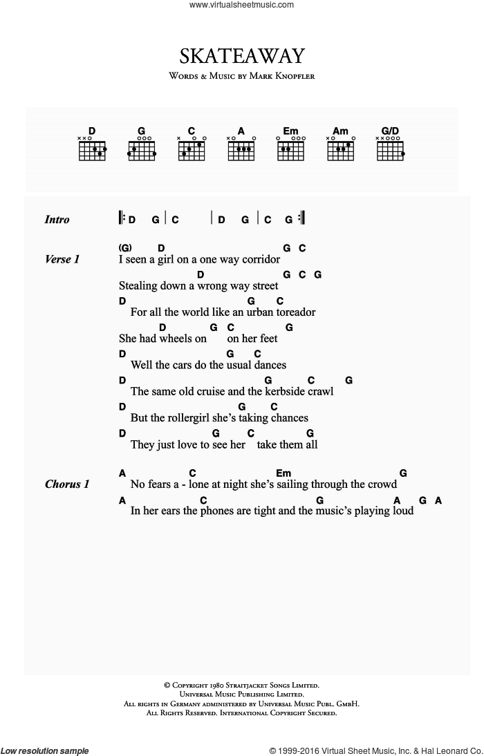 Skateaway sheet music for guitar (chords) by Dire Straits and Mark Knopfler, intermediate