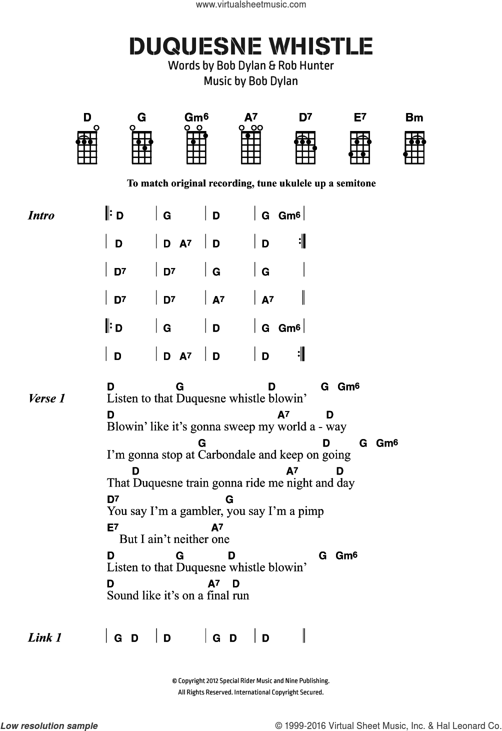 Duquesne Whistle sheet music for voice, piano or guitar by Bob Dylan, intermediate. Score Image Preview.