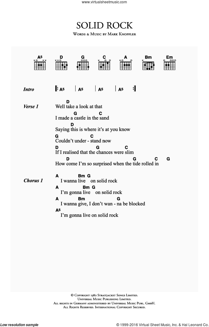 Solid Rock sheet music for guitar (chords) by Dire Straits and Mark Knopfler, intermediate guitar (chords). Score Image Preview.