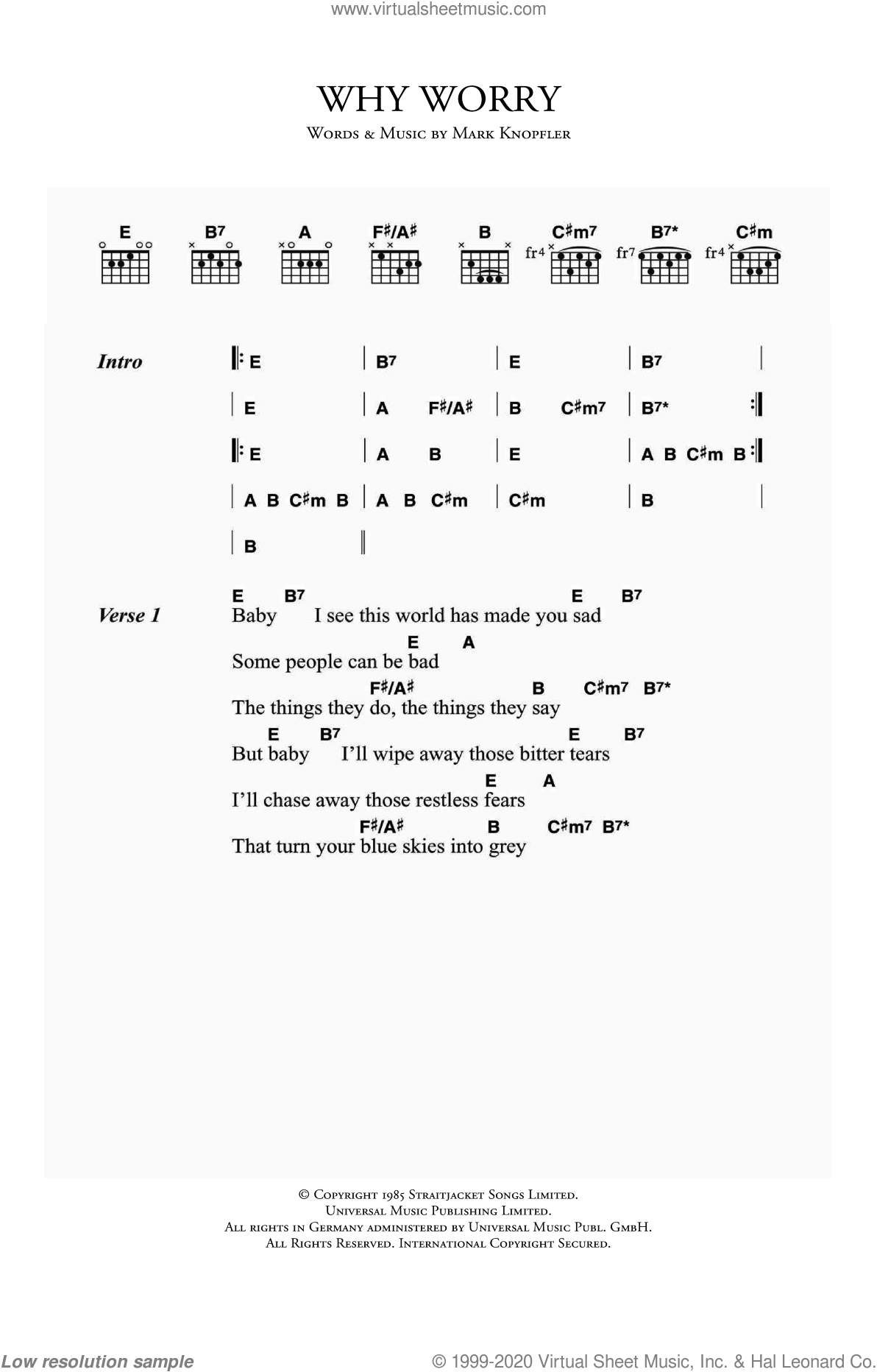 Why Worry sheet music for guitar (chords) by Dire Straits and Mark Knopfler, intermediate skill level