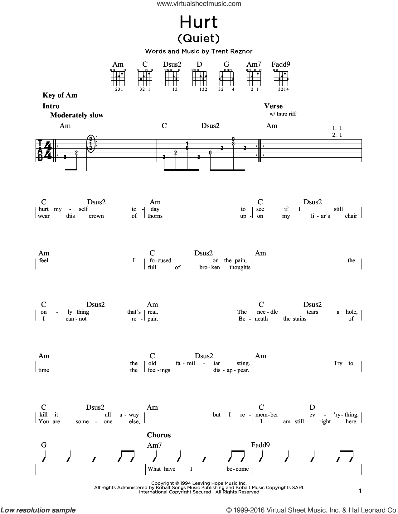 Hurt (Quiet) sheet music for guitar solo (lead sheet) by Johnny Cash, Nine Inch Nails and Trent Reznor, intermediate guitar (lead sheet)