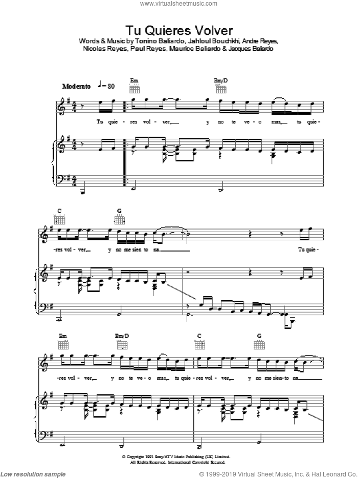 Tu Quieres Volver sheet music for voice, piano or guitar by Gipsy Kings. Score Image Preview.