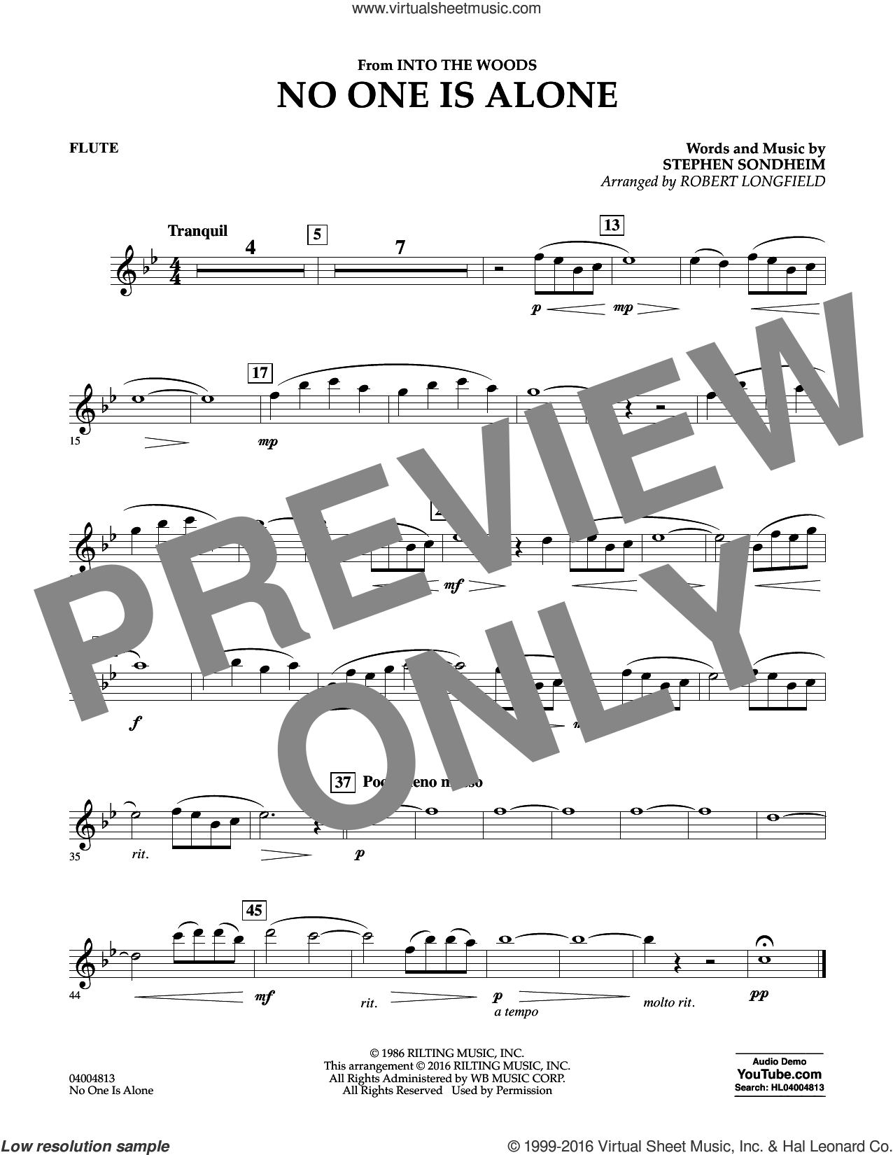 No One Is Alone sheet music for concert band (flute) by Stephen Sondheim and Robert Longfield, intermediate concert band (flute). Score Image Preview.