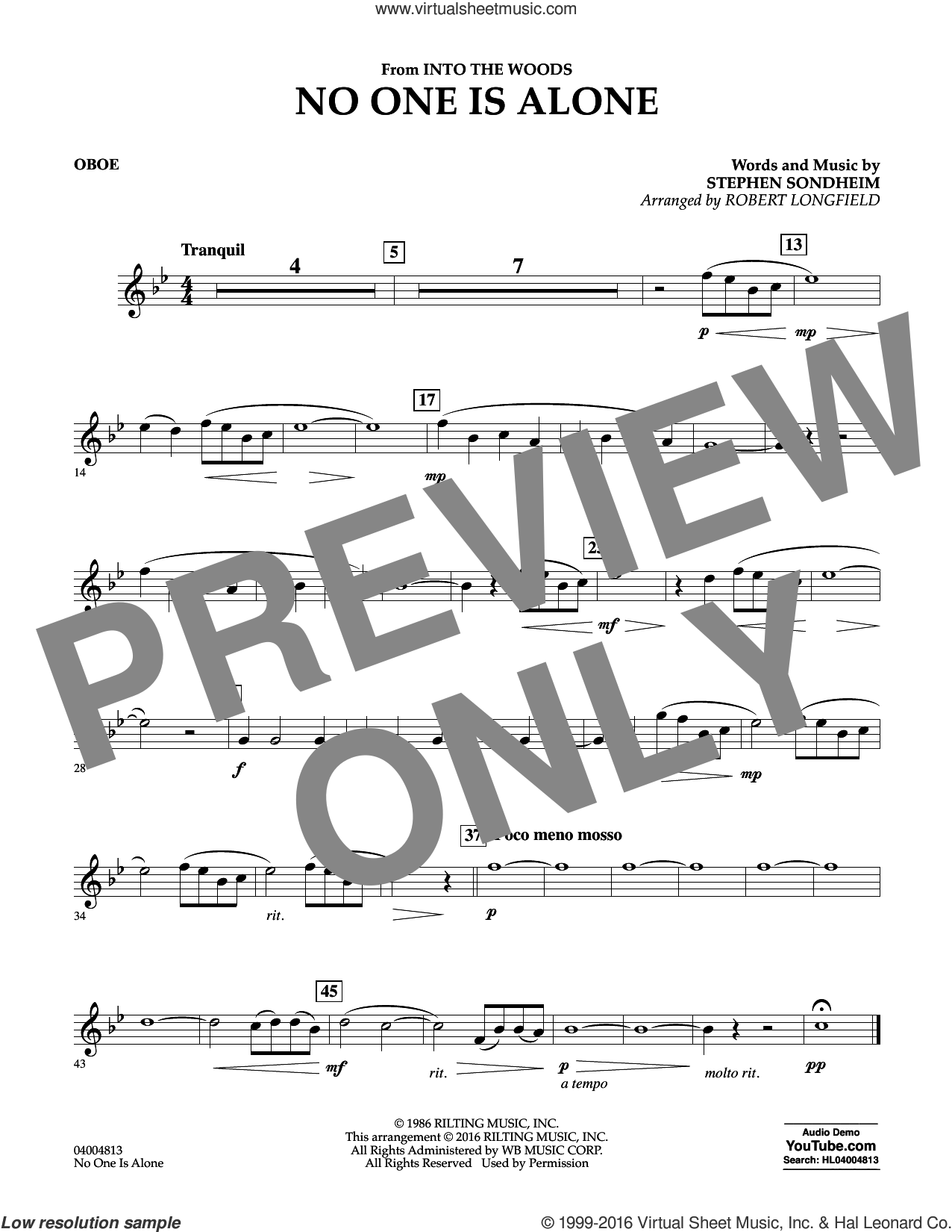 No One Is Alone sheet music for concert band (oboe) by Stephen Sondheim and Robert Longfield, intermediate skill level