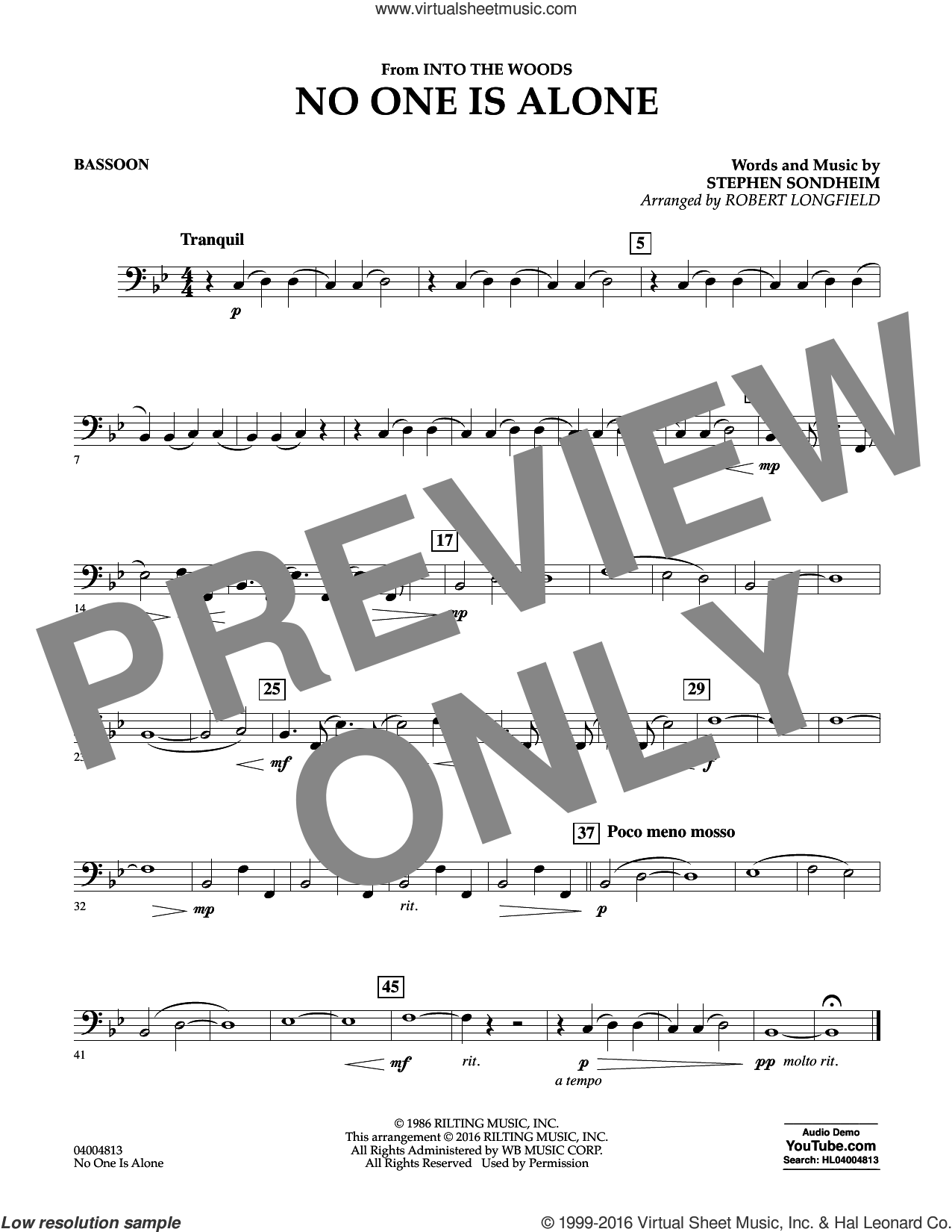No One Is Alone sheet music for concert band (bassoon) by Stephen Sondheim and Robert Longfield. Score Image Preview.