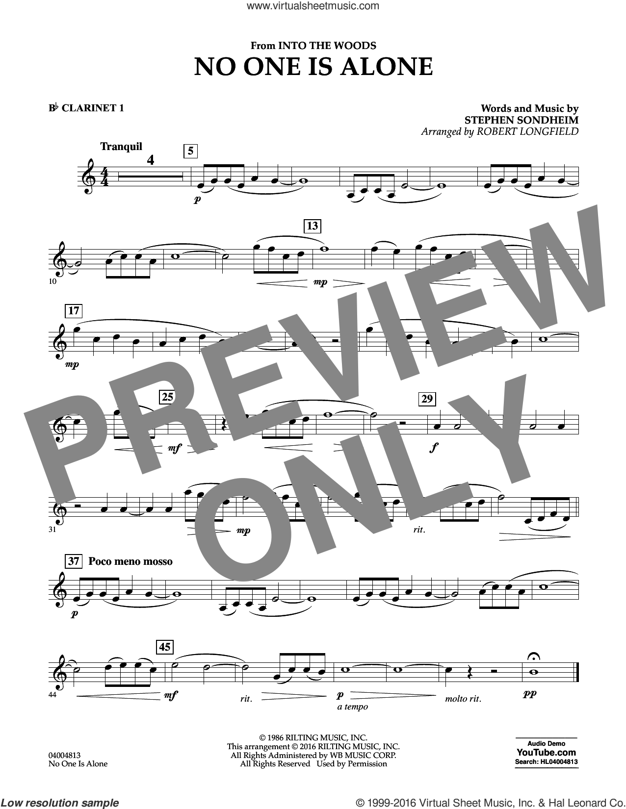 No One Is Alone sheet music for concert band (Bb clarinet 1) by Stephen Sondheim and Robert Longfield. Score Image Preview.