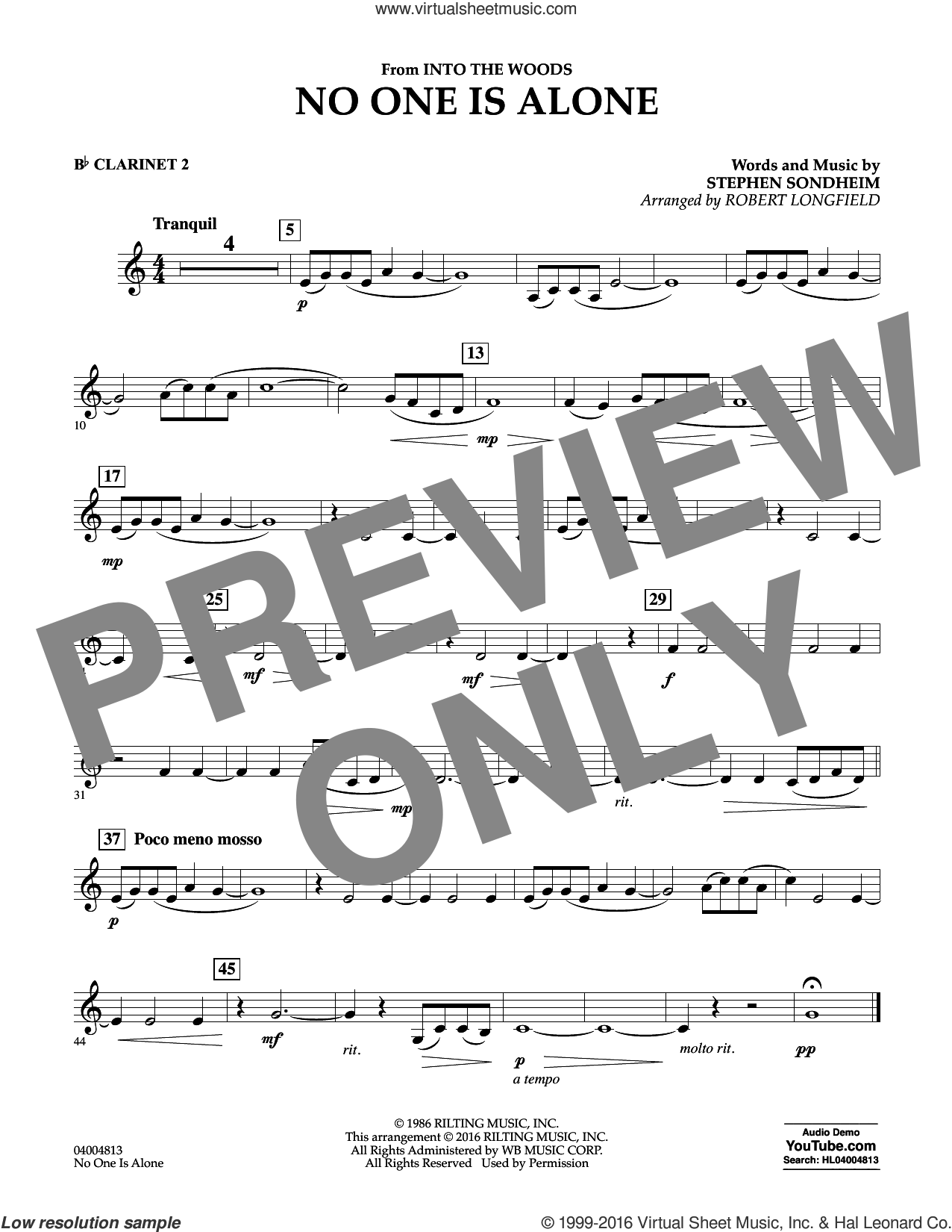 No One Is Alone sheet music for concert band (Bb clarinet 2) by Stephen Sondheim and Robert Longfield. Score Image Preview.