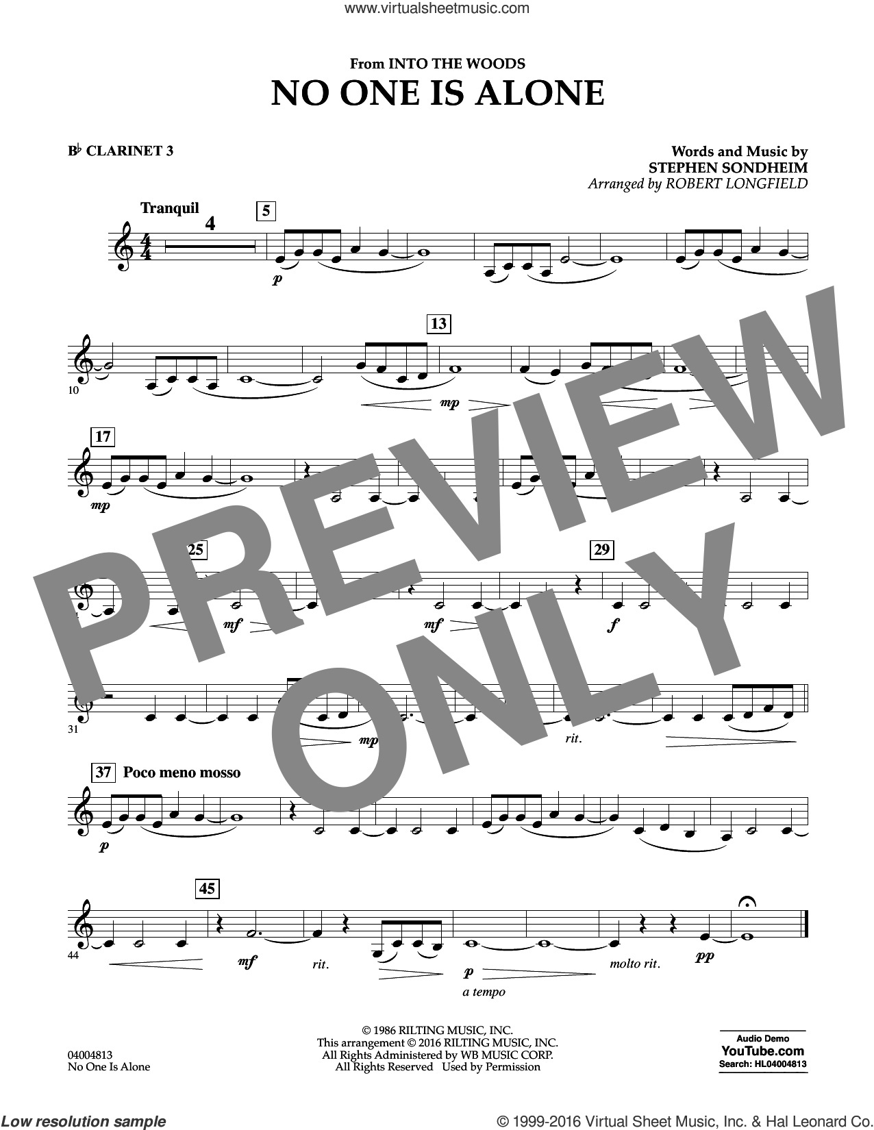 No One Is Alone sheet music for concert band (Bb clarinet 3) by Stephen Sondheim and Robert Longfield. Score Image Preview.
