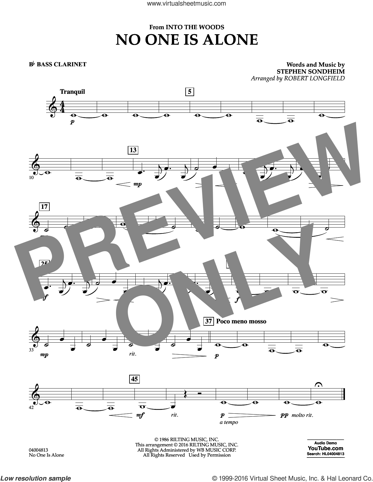 No One Is Alone sheet music for concert band (Bb bass clarinet) by Stephen Sondheim and Robert Longfield, intermediate skill level