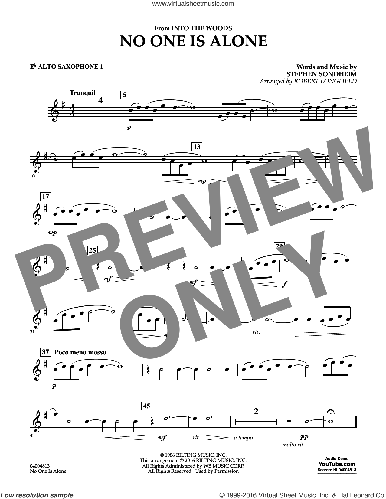No One Is Alone sheet music for concert band (Eb alto saxophone 1) by Stephen Sondheim and Robert Longfield. Score Image Preview.