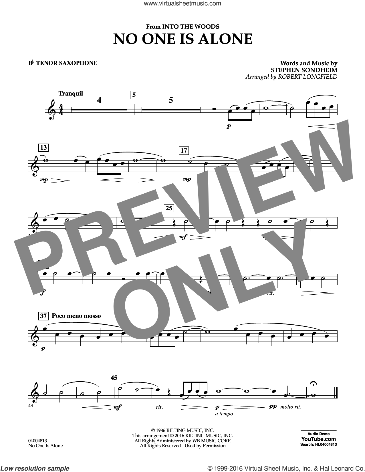 No One Is Alone sheet music for concert band (Bb tenor saxophone) by Stephen Sondheim and Robert Longfield. Score Image Preview.