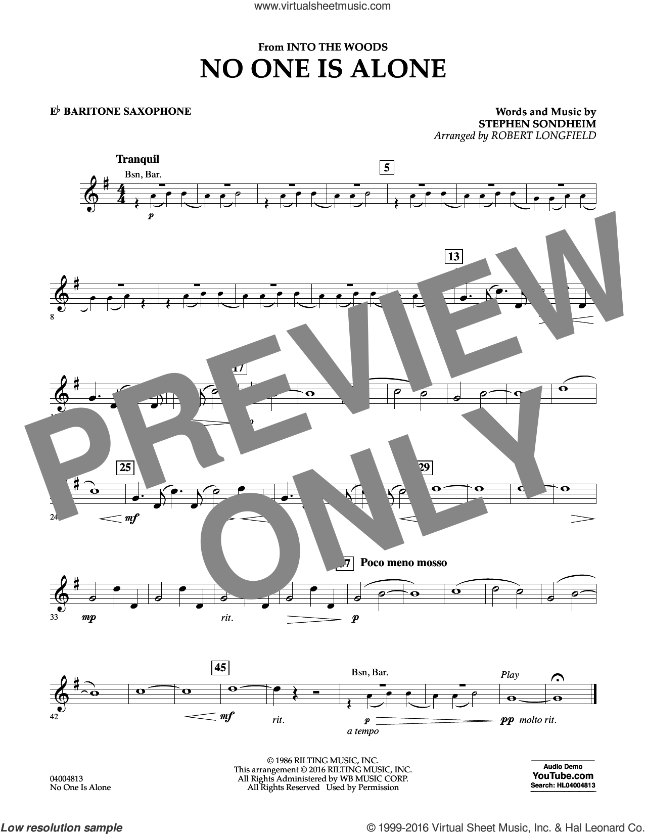 No One Is Alone sheet music for concert band (Eb baritone saxophone) by Stephen Sondheim and Robert Longfield, intermediate concert band (Eb baritone saxophone). Score Image Preview.