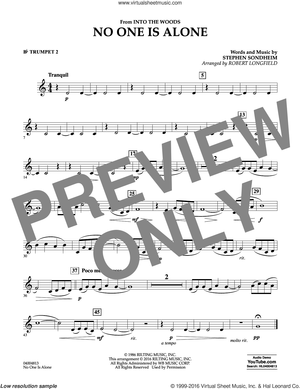No One Is Alone sheet music for concert band (Bb trumpet 2) by Stephen Sondheim and Robert Longfield, intermediate skill level