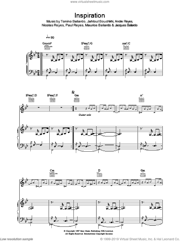 Inspiration sheet music for voice, piano or guitar by Gipsy Kings, intermediate. Score Image Preview.