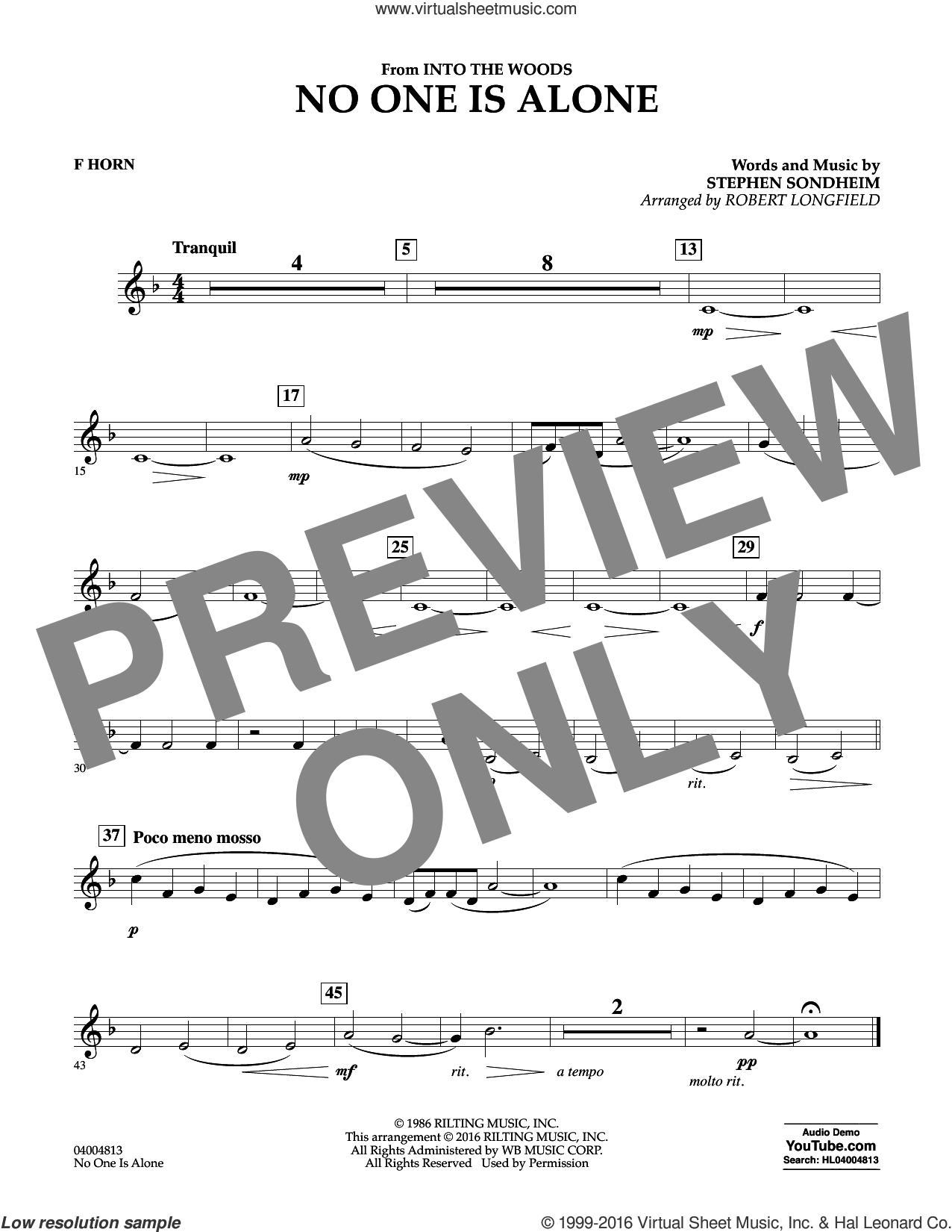 No One Is Alone sheet music for concert band (f horn) by Stephen Sondheim and Robert Longfield. Score Image Preview.
