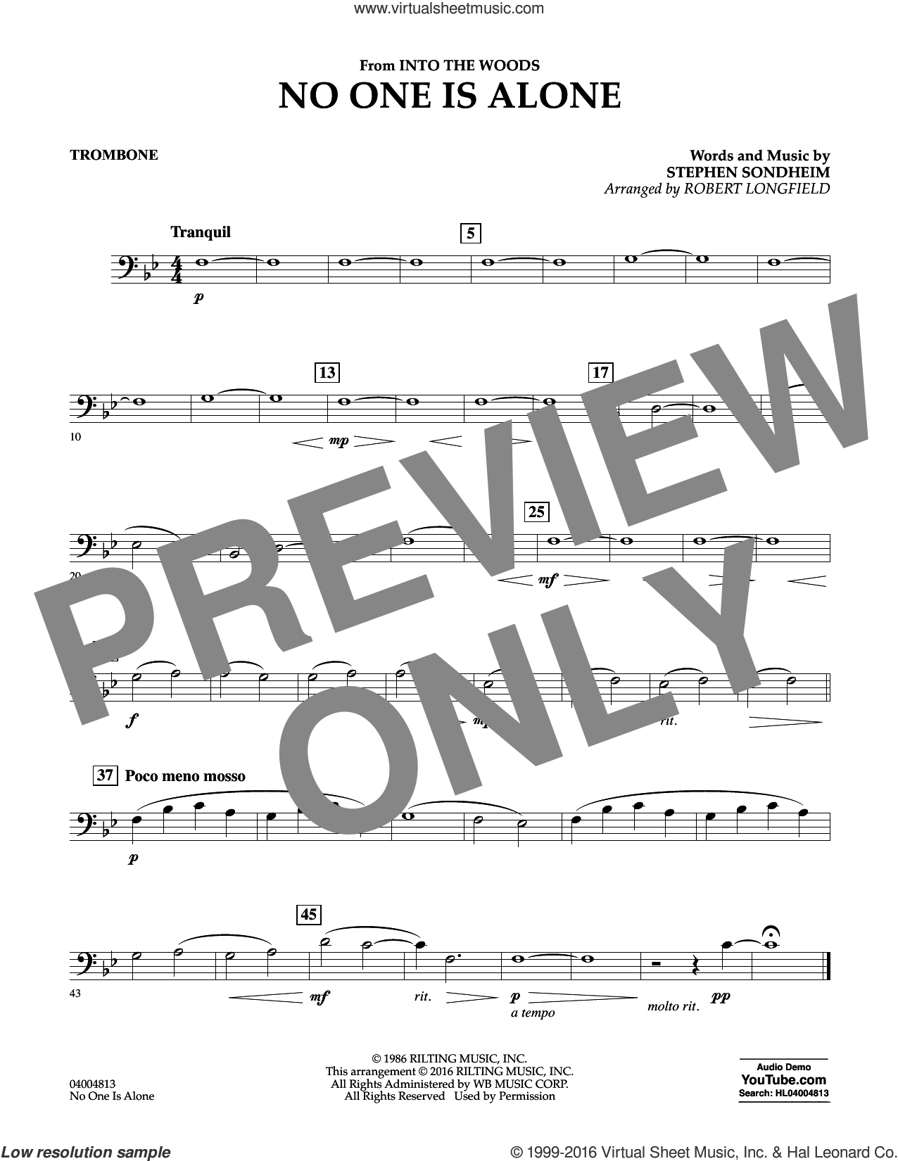 No One Is Alone sheet music for concert band (trombone) by Stephen Sondheim and Robert Longfield, intermediate skill level