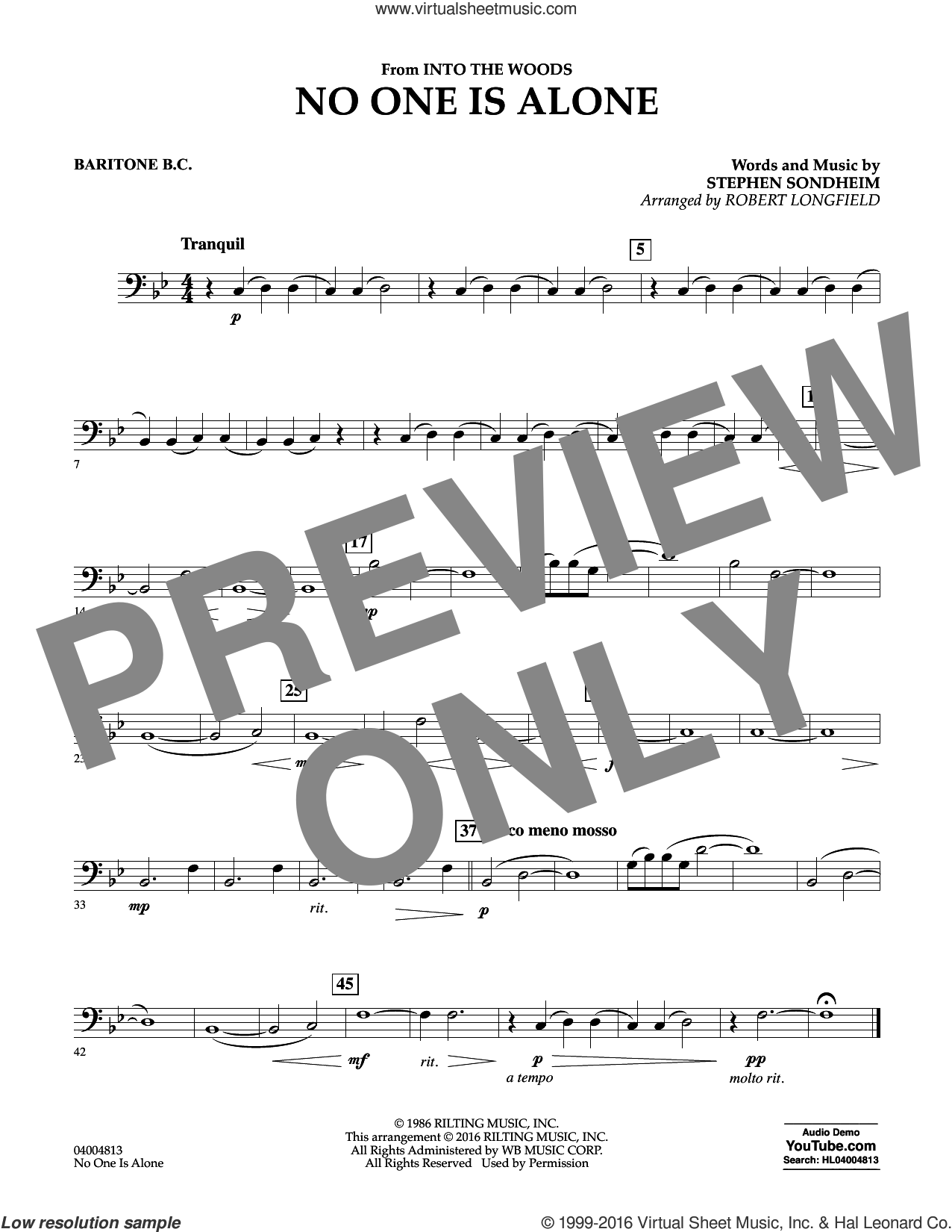 No One Is Alone sheet music for concert band (baritone b.c.) by Stephen Sondheim and Robert Longfield, intermediate skill level