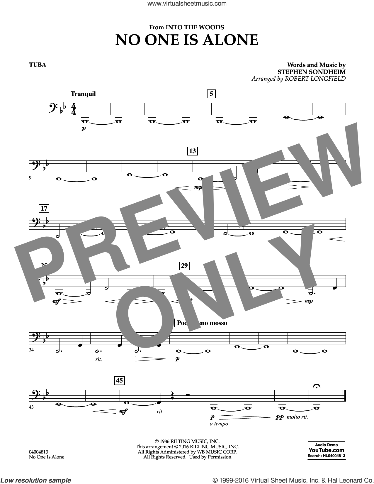 No One Is Alone sheet music for concert band (tuba) by Stephen Sondheim and Robert Longfield. Score Image Preview.