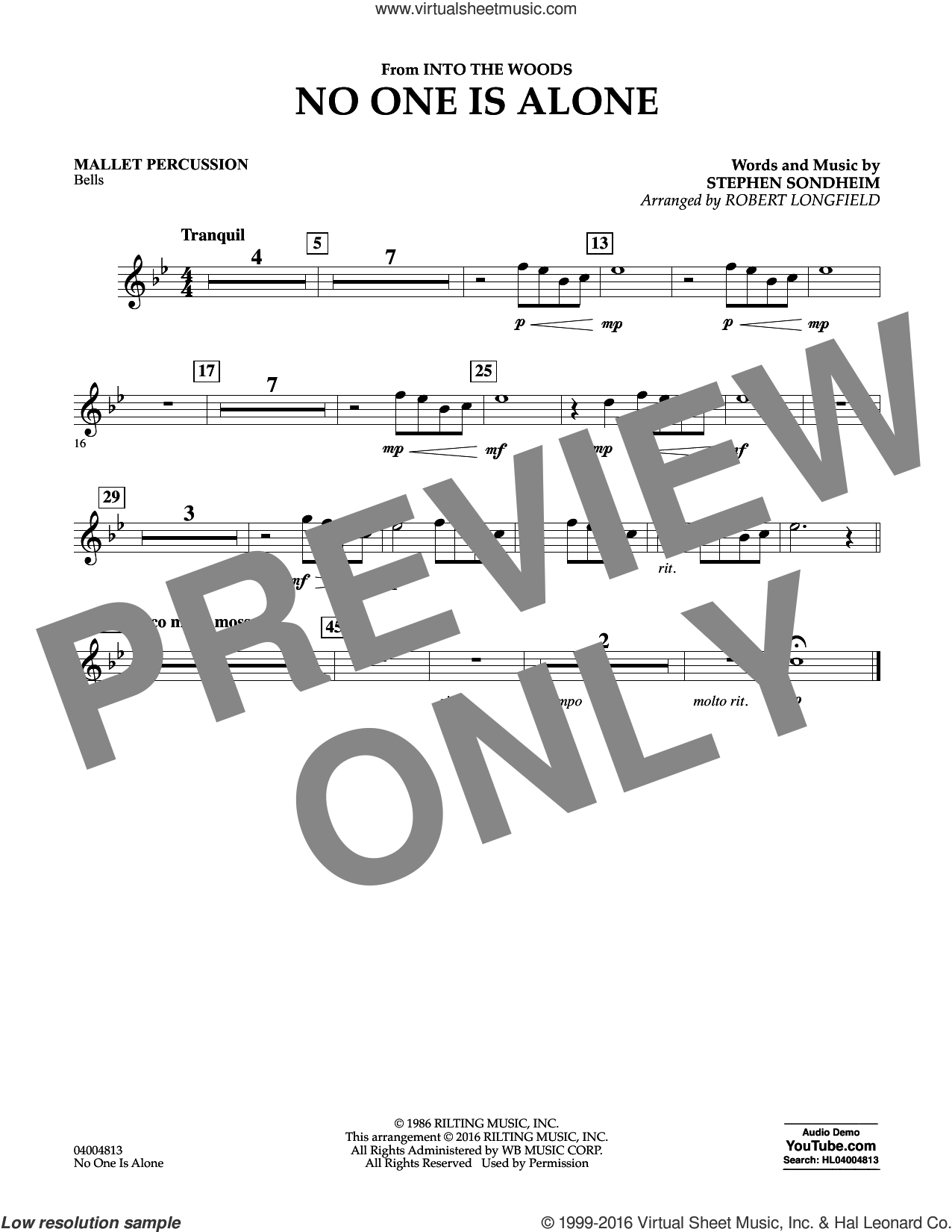 No One Is Alone sheet music for concert band (mallet percussion) by Stephen Sondheim and Robert Longfield, intermediate. Score Image Preview.