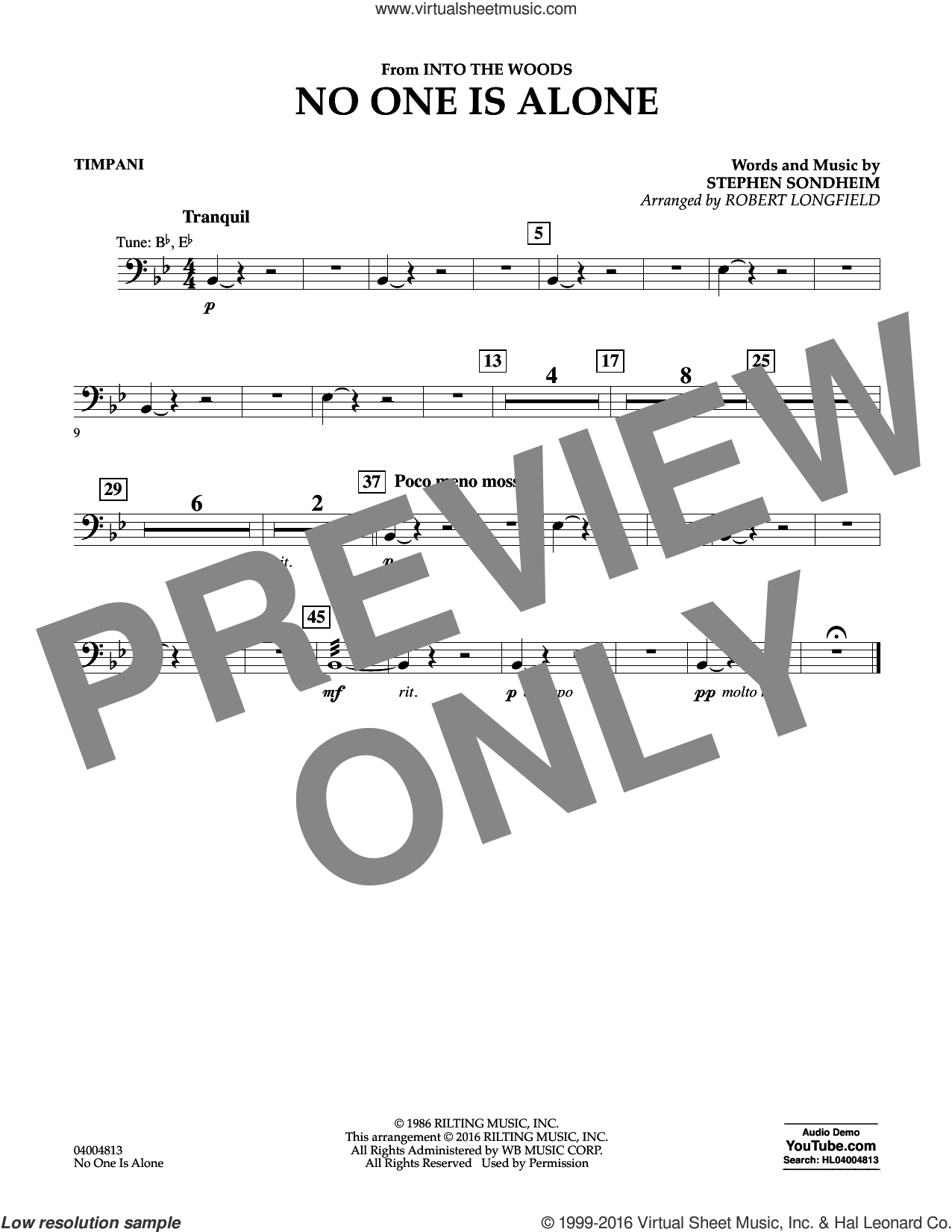 No One Is Alone sheet music for concert band (timpani) by Stephen Sondheim and Robert Longfield, intermediate concert band (timpani). Score Image Preview.