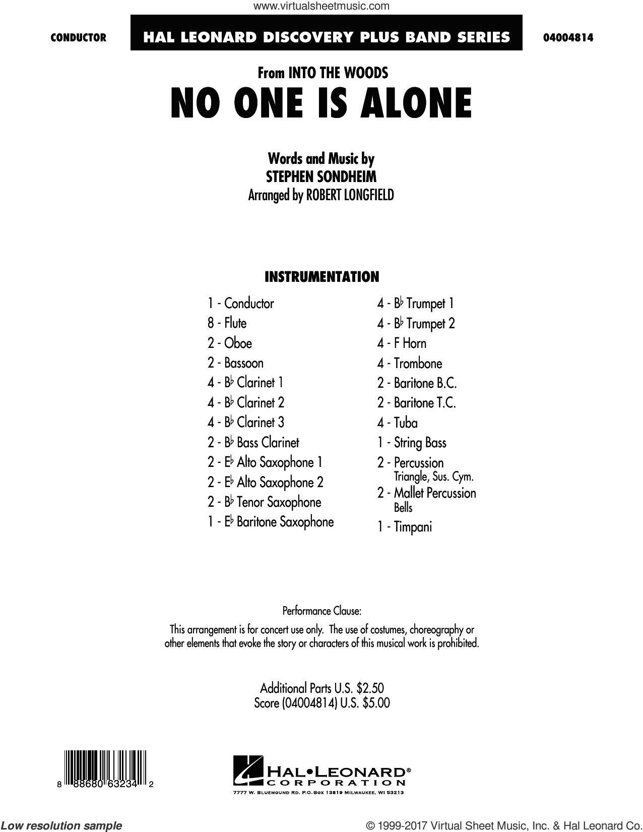 No One Is Alone (from Into the Woods) (COMPLETE) sheet music for concert band by Stephen Sondheim and Robert Longfield, intermediate. Score Image Preview.