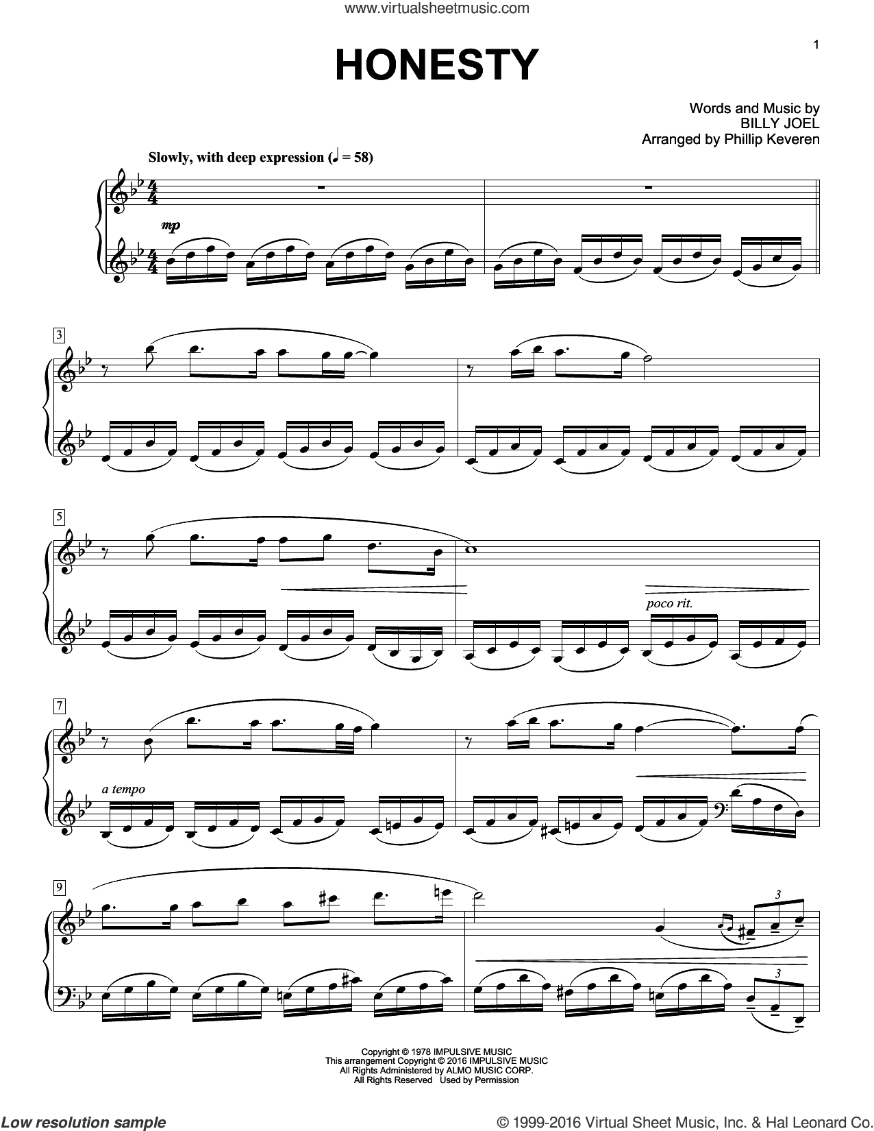 Honesty sheet music for piano solo by Phillip Keveren and Billy Joel, intermediate. Score Image Preview.