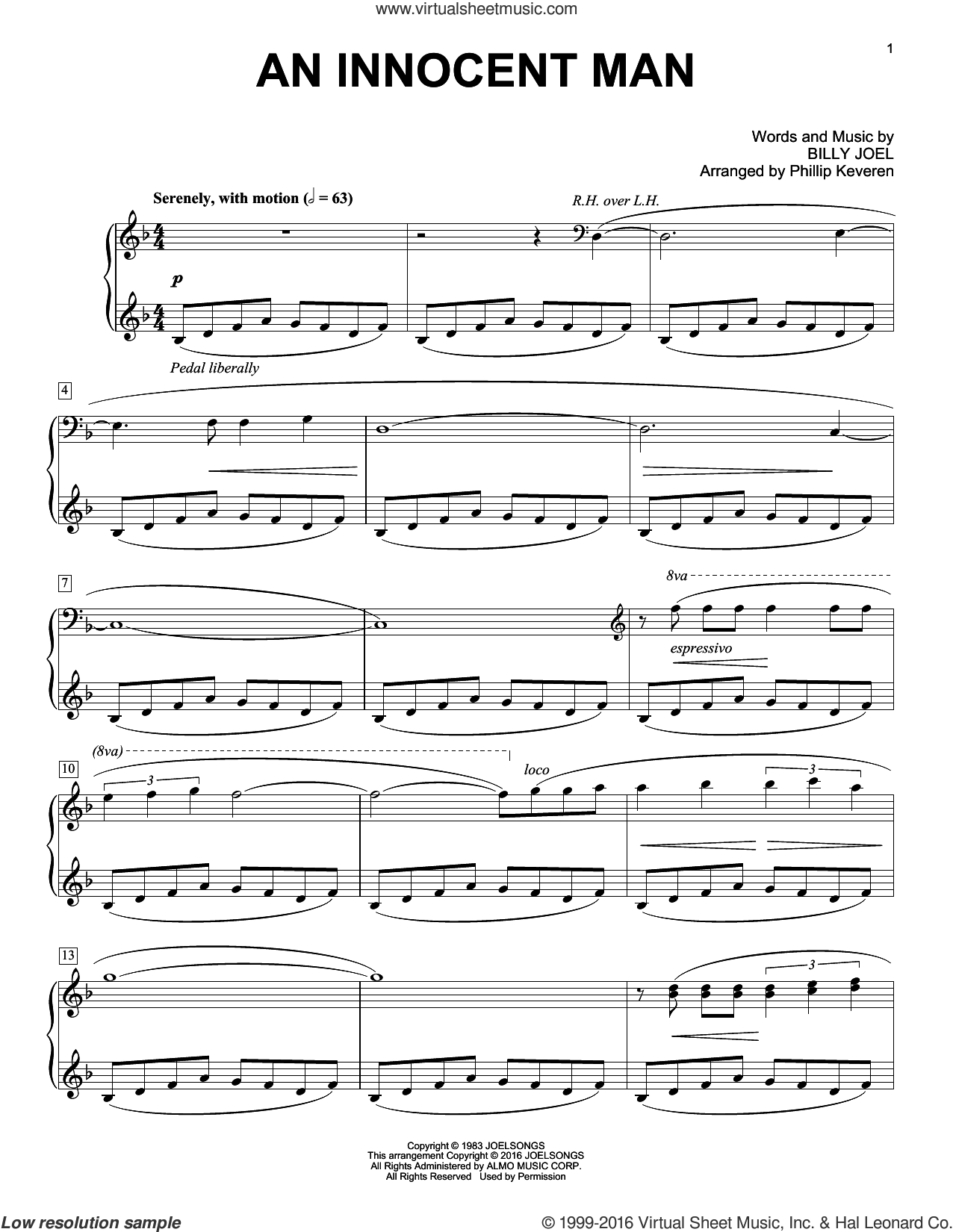 An Innocent Man sheet music for piano solo by Phillip Keveren and Billy Joel. Score Image Preview.
