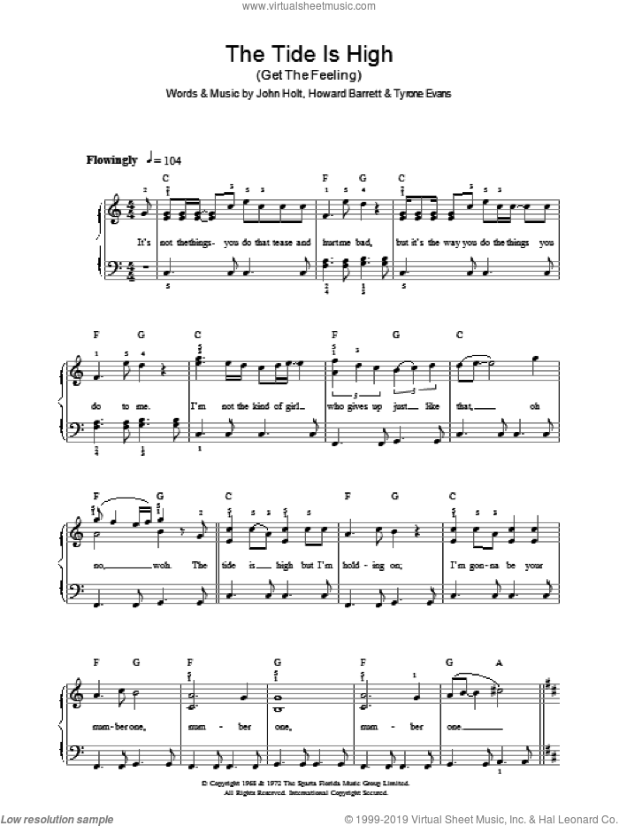 The Tide Is High (Get The Feeling) sheet music for voice, piano or guitar by Howard Barrett