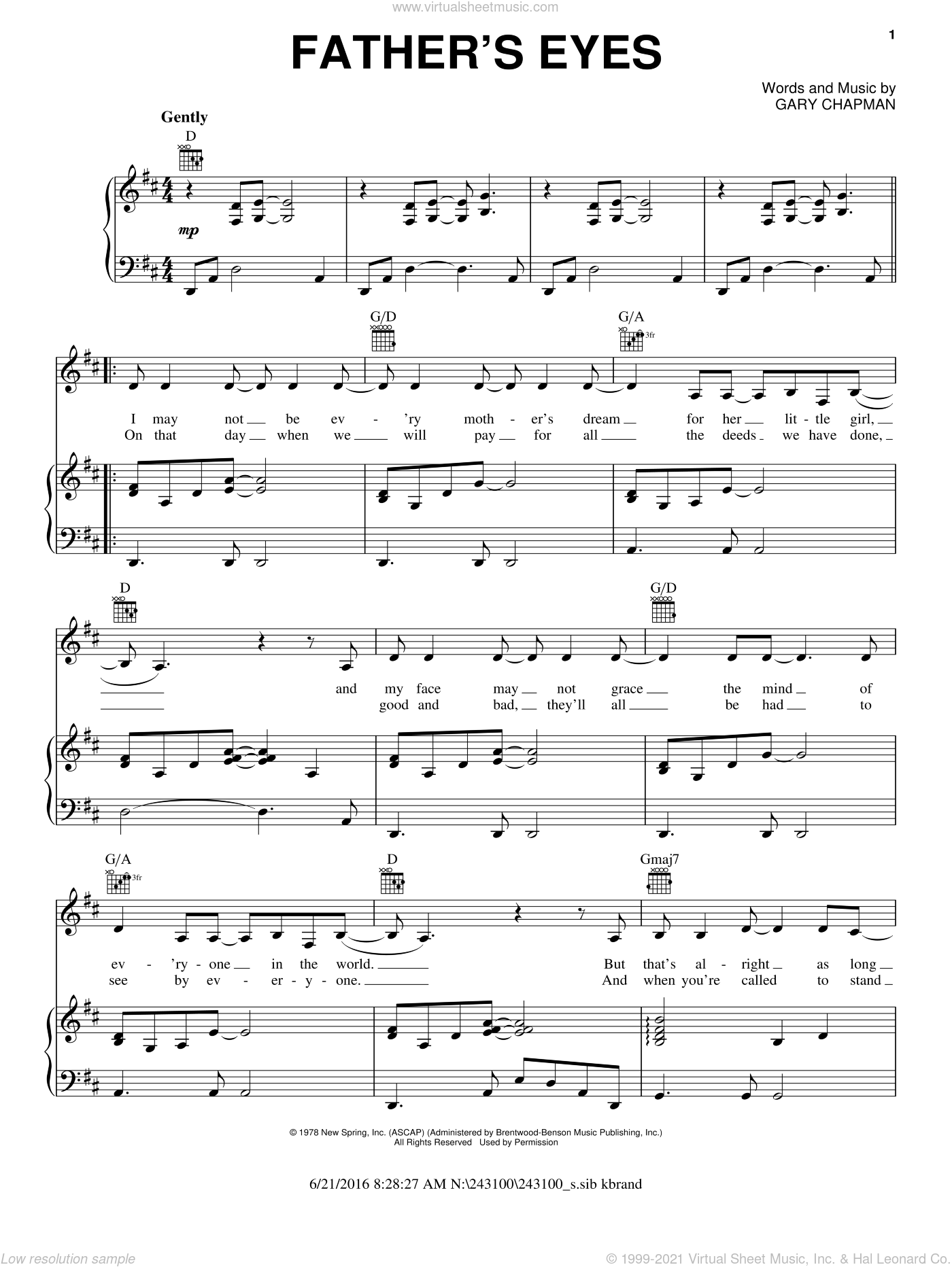Father's Eyes sheet music for voice, piano or guitar by Amy Grant and Gary Chapman. Score Image Preview.