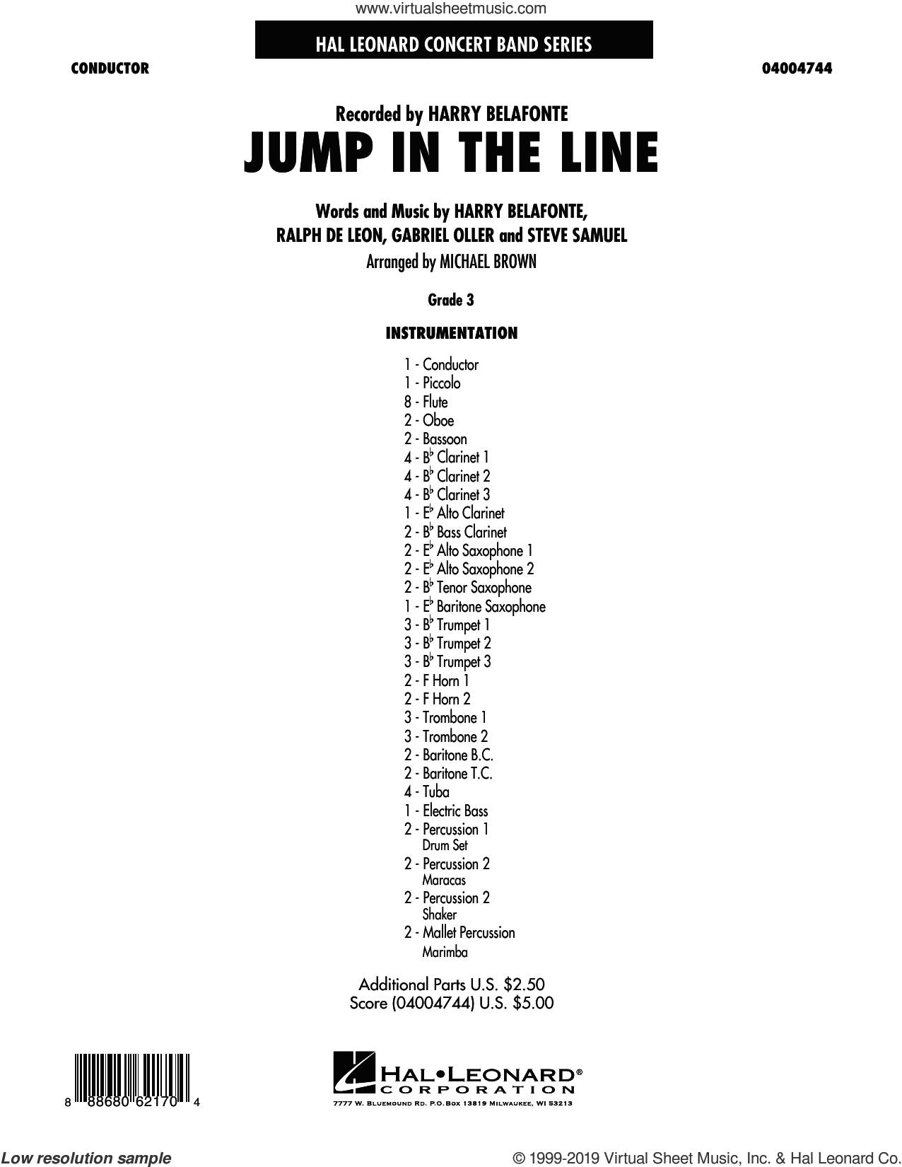 Jump in the Line (COMPLETE) sheet music for concert band by Michael Brown, Gabriel Oller, Harry Belafonte, Jeff Simmons, Ralph De Leon, Raymond Bell, Steve Primatic and Steve Samuel, intermediate skill level
