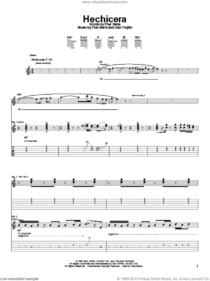 Hechicera sheet music for guitar (tablature) by Mana, intermediate. Score Image Preview.