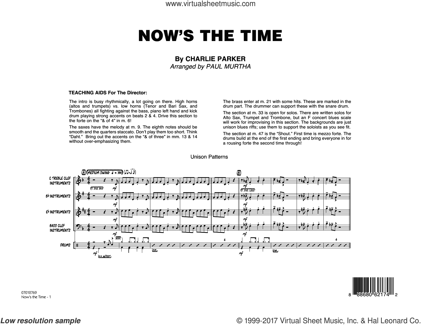 Now's the Time (COMPLETE) sheet music for jazz band by Paul Murtha and Charlie Parker, intermediate