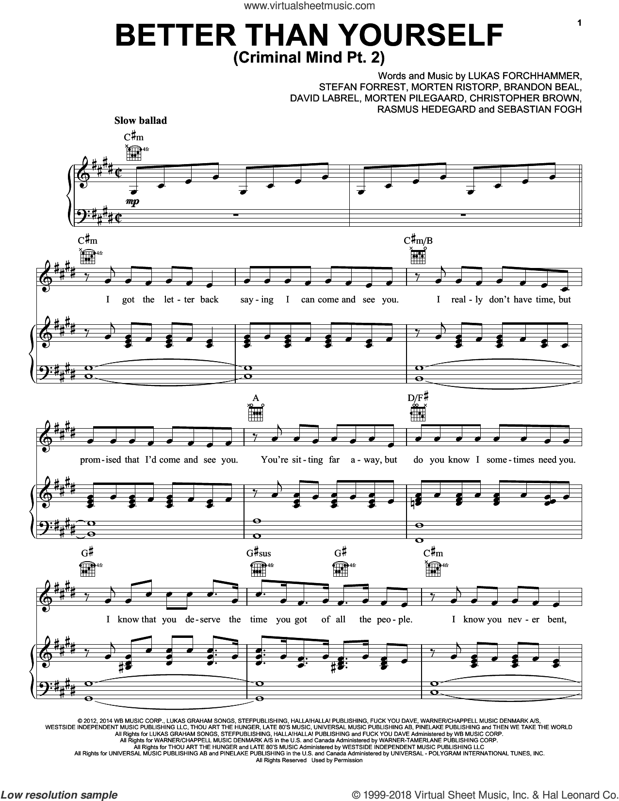 Better Than Yourself (Criminal Mind Part 2) sheet music for voice, piano or guitar by Lukas Graham, Brandon Beal, Chris Brown, David Labrel, Lukas Forchhammer, Morten Pilegaard, Morten Ristorp, Rasmus Hedegard, Sebastian Fogh and Stefan Forrest, intermediate skill level